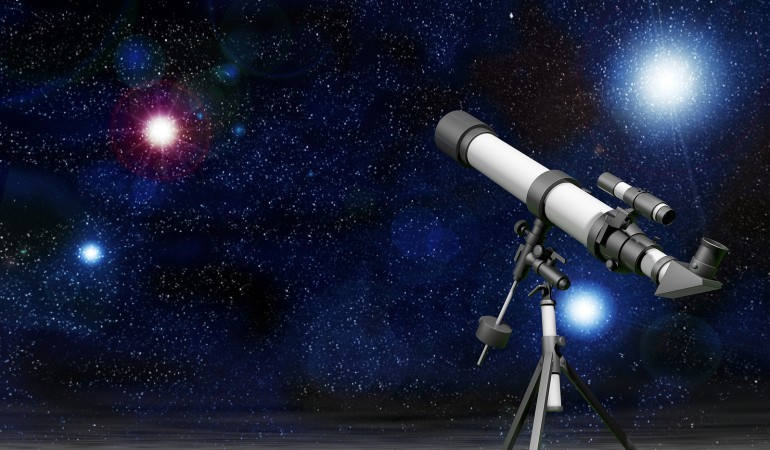 Telescope with a Sky full of Stars 3d rendering