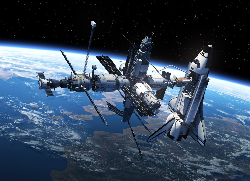 Space Shuttle And Space Station In Space. 3D Scene.